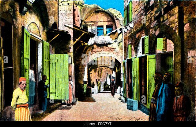 Jaffa - arabischen Viertel. Ende 1800 s, frühen 1900er Jahren. Währungsumstellung vor ihren Geschäften Stockbild