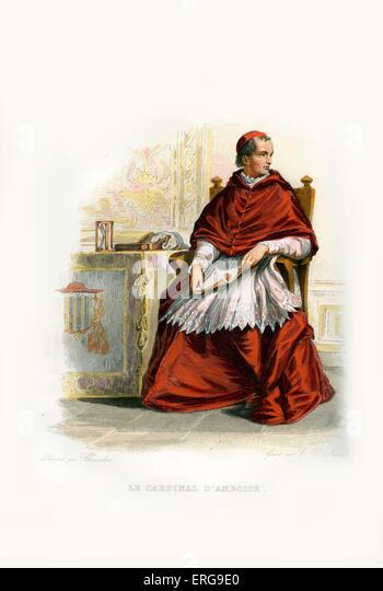 Georges d ' Amboise. Französischer Kardinal und Minister des Staates. 1460-1510. Kupferstich von C. V. Stockbild