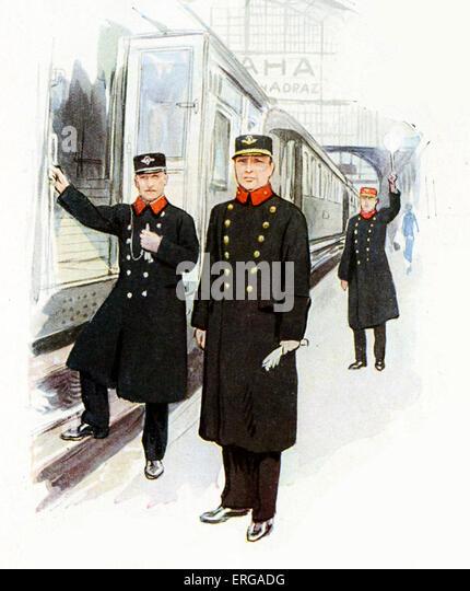 Bahnpersonal Uniformen, 1920-30: tschechoslowakische Eisenbahn Bahnhofsvorsteher, Dirigent und Fahrdienstleiter. Stockbild