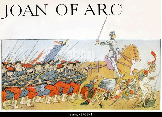 Joan of Arc führte die französische Armee während des Hundertjährigen Krieges gegen die englische Stockbild