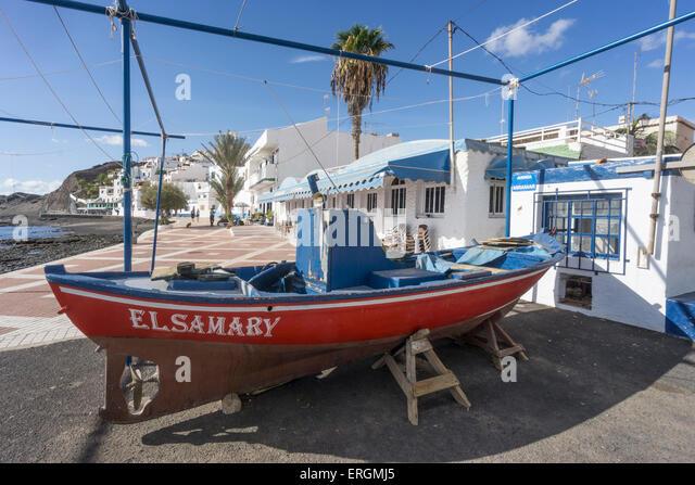 Las Playitas, Fischerboot, Promenade, Fuerteventura, Kanarische Inseln, Spanien, Europa, Stockbild
