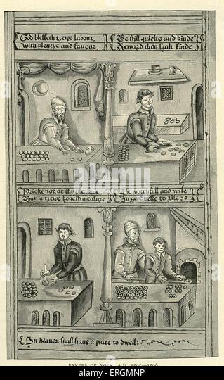 Die Bäcker von York 1595-6. Bildunterschrift lautet, 'Verordnungen ihre Gild'. Über den Teig ist - Stock-Bilder