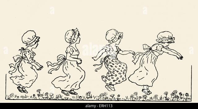"""Kate Greenaway """"s"""" Ringelblume Garten: Bilder und Reime. Illustration von Greenaway Kinder-und Jugendbuch Stockbild"""