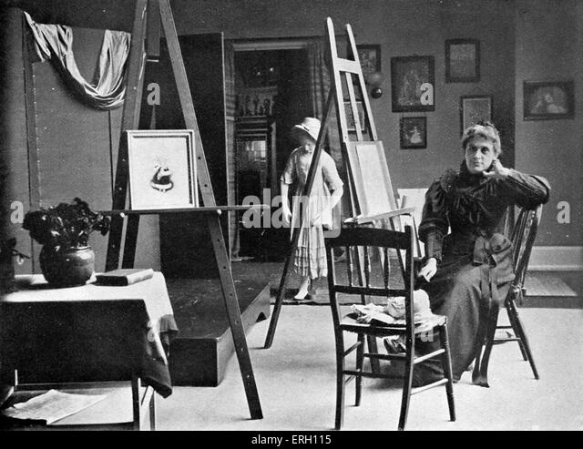 Kate Greenaway in ihrem Atelier, 1885. KG: Englisch Kinder Buchillustrator und Schriftsteller, 17. März 1846 Stockbild