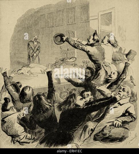 Uraufführung von Victor Hugos Hernani. Karikatur der Zeit.  Darstellung des Stücks chaotische Rezeption Stockbild