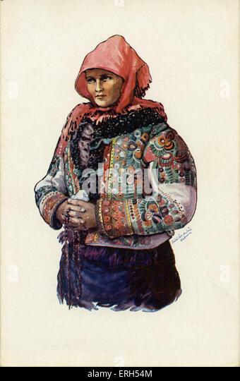 Ungarische Bäuerin in Tracht mit Kopftuch und verzierte Jacke. Stockbild