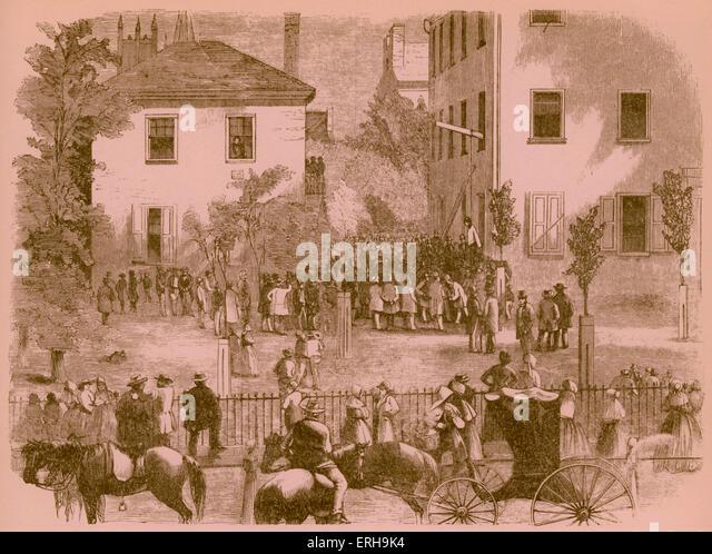 19. Jahrhundert lynchen in Kentucky Gerichtsgebäude. Künstler unbekannt, 1860er Jahre. Stockbild