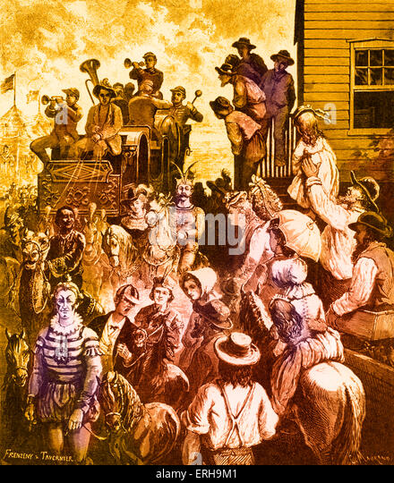 Amerikanische Traveling Circus, 19. Jahrhundert. Illustration von Paul Frenzeny (1840-1902) und Jules Tavernier Stockbild