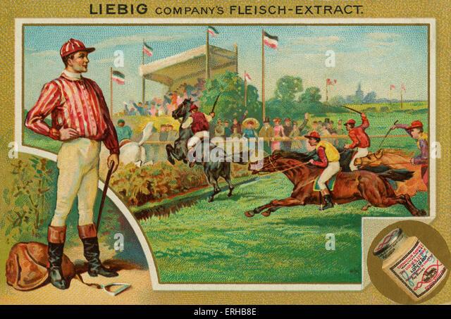 Pferderennen. Liebig-Karte, Sport, 1896. Stockbild