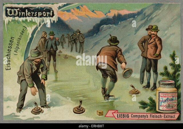 Eis-Lager Sport/bayerische Curling / Eisschiessen in den Alpen. Ein Spiel ähnlich wie Eisstockschießen. Stockbild