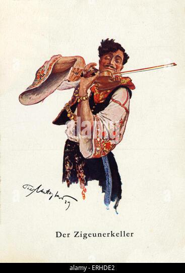 Darstellung der männlichen Zigeuner in traditioneller Tracht mit dem Geigenspiel. Stockbild