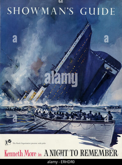 "Titanic-Untergang auf dem Cover der Schausteller Guide für den Rank Organisation-Film ""A Night to remember"" Stockbild"