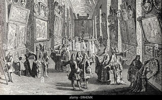 Louvre - erste Galerie der Kunst Werke, Gemälde installiert in der großen Galerie - 1699 Stockbild
