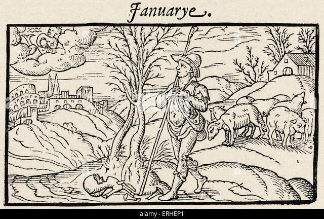 """""""Der Hirte Kalender"""" - Illustration - """"Januar"""" - 1597 Stockbild"""