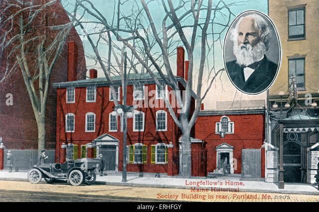 Longfellow es Home, Maine Historical Society Gebäude im Heck, Portland, USA. Einschub-Porträt von Henry Stockbild