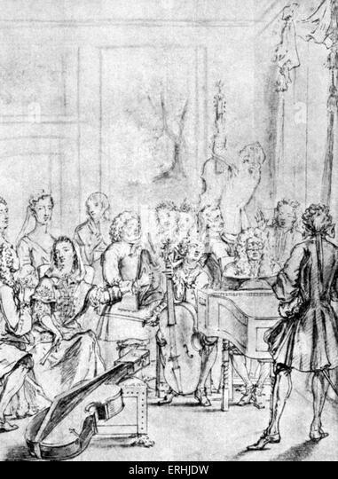 Musik Erwägung im Haus eines Adligen. Zeichnung von Marcellus Studierende, 1736. Stockbild