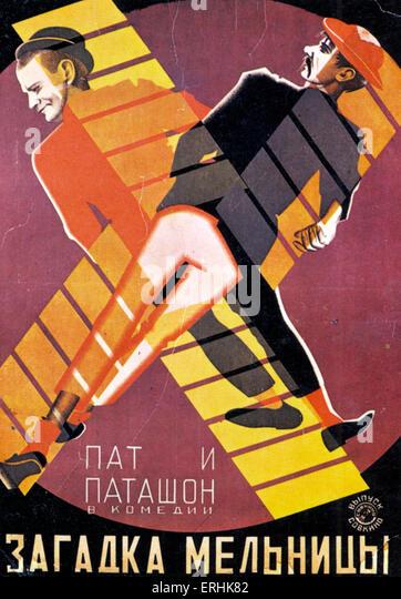 """Russisches Filmplakat für """"The Riddle der Windmühle"""" Pat und Patashon, 1928. Stockbild"""