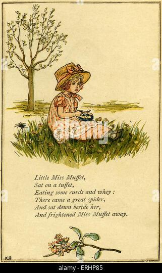 Little Miss Muffet, illustriert von Kate Greenaway. Englisch für Kinder Buchillustratorin und Autorin 17. März Stockbild