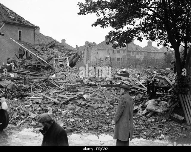 Schäden nach dem Luftangriff, Solihull, Birmingham, 27. Juli 1942 zu bombardieren. Stockbild