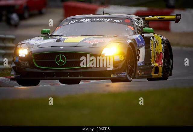 Mercedes SLS AMG GT3, Haribo Racing Team, ADAC Zurich 24 h-Rennen auf dem Nürburgring Rennen verfolgen in 2015, Stockbild
