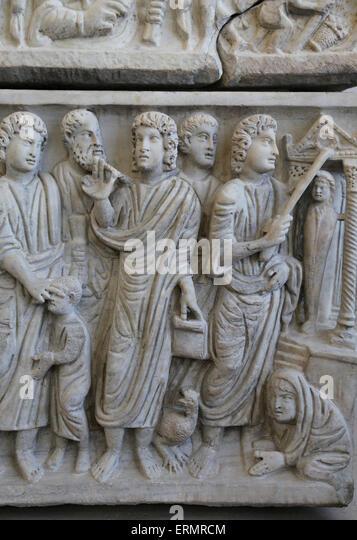 Frühchristliche. Römischer Sarkophag des Marcus Claudianus (330-335 n. Chr.). Die Härtung des blinden, Stockbild