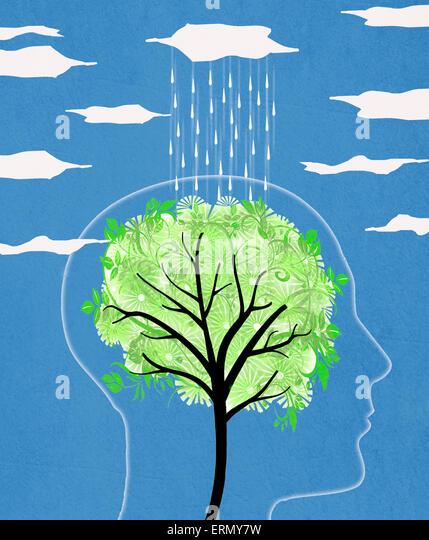 Kopf-Silhouette mit Baum und Regen digitale illustration Stockbild