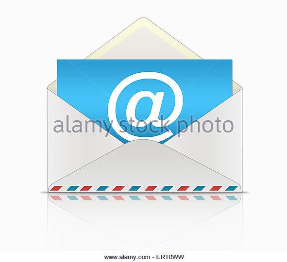 Blaue e-Mail-Umschlag Stockbild