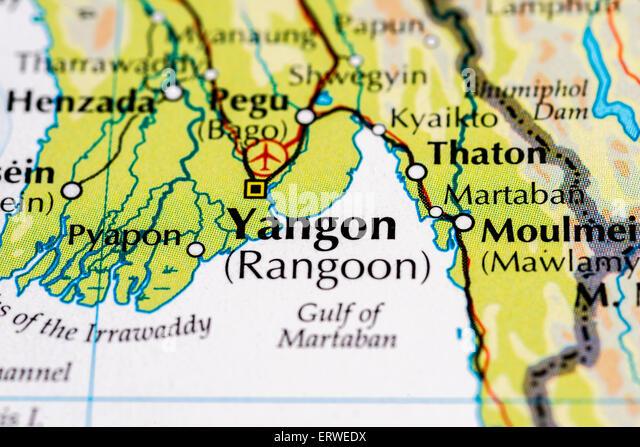 Karte von Myanmar und Yangon hautnah.  Vormals Birma und Rangun Stockbild