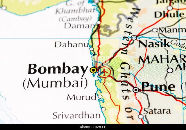 Nahaufnahme von Atlas Karte von Mumbai, Indien, früher als Bombay bekannt war Stockbild