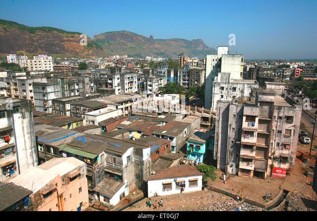 Eine Übersicht über Mumbra; kleine Gemeinde mit hohen muslimischen Bevölkerung am Stadtrand von Bombay Stockbild