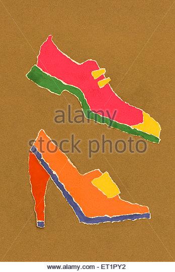 Plakatpapier Farbe; Patchwork; Abbildung Kunstmalerei von männlichen und weiblichen Stylistin Schuh; Schuhe Stockbild