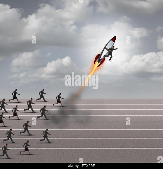 Motivationsschub Konzept und Karriere als eine Gruppe von Geschäftsleuten läuft auf einer Strecke mit Stockbild