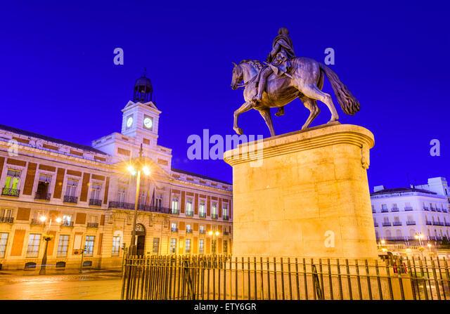 Madrid, Spanien an der Puerta del Sol. Stockbild