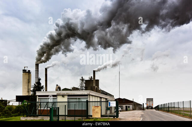 Anlage zur Trocknung von Luzerne und Rüben Zellstoff, Degorgieren Federn von Rauchschwaden Stockbild