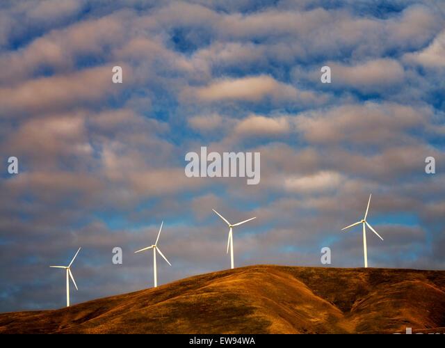 Windmühlen in der Nähe der Columbia River Gorge, Oregon - Stock-Bilder