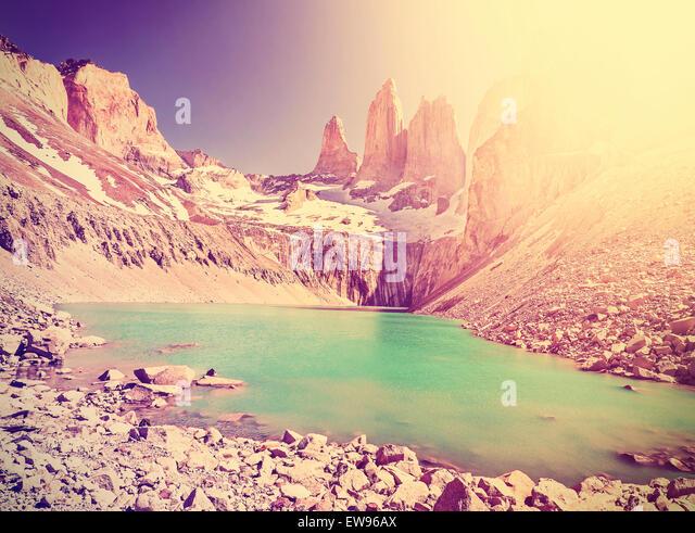 Vintage Instagram getönten Berge, Torres del Paine Nationalpark, Patagonien, Chile. Stockbild