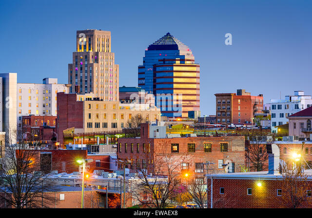Durham, North Carolina, USA Skyline der Innenstadt. Stockbild