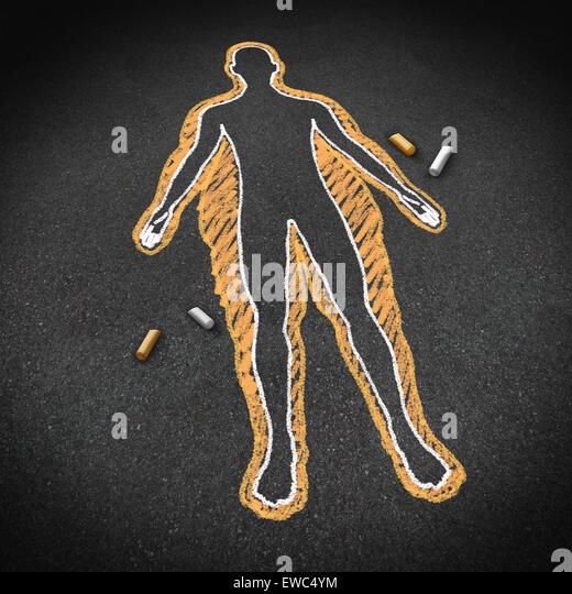Diäten und Körper Gesundheitskonzept als eine Kreidezeichnung auf einer Straße mit eine übergewichtige Stockbild