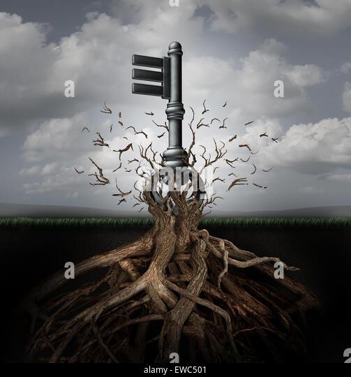 Lösungskonzept als einen alten generischen Schlüssel entstehen aus einem Baum als Metapher für die Stockbild