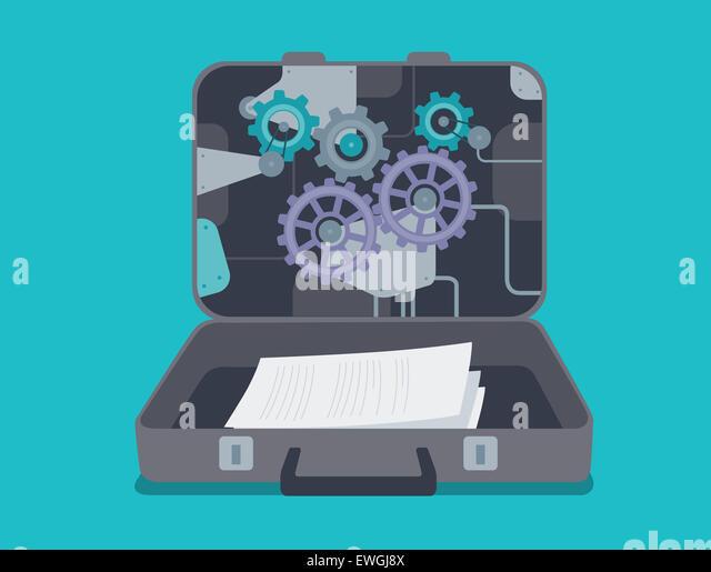Vertrauliche Dokumente im Aktenkoffer Stockbild