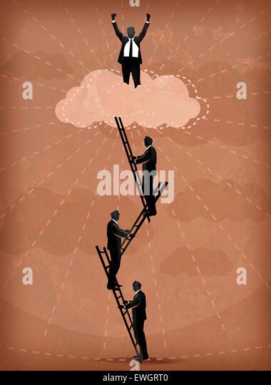 Abbildung Bild von Geschäftsleuten besteigen von Leitern Stockbild