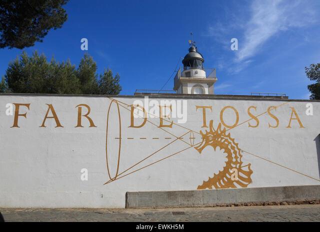 Tossa de Mar, Leuchtturm, Costa Brava, Catalona, Spanien, Europa Stockbild