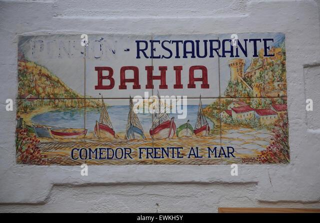 Tossa de Mar, Restaurant Schild, Costa Brava, Catalona, Spanien, Europa Stockbild