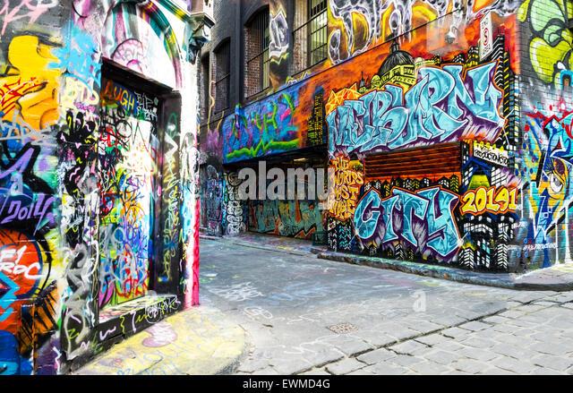 Australien, Melbourne, Graffiti Wandmalereien in der berühmten Hosier Lane im Zentrum Stadt Stockbild