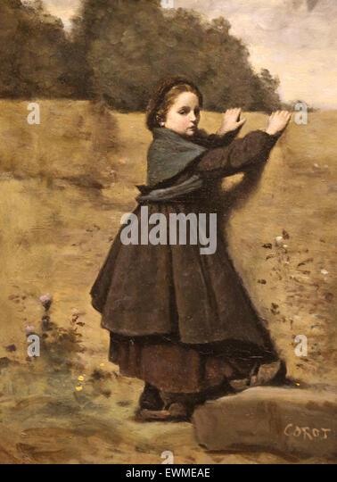 Camille Corot (1796-1875). Französischer Maler. Das neugierige Mädchen, 1860-64. Öl auf Holz. Metropolitan Stockbild