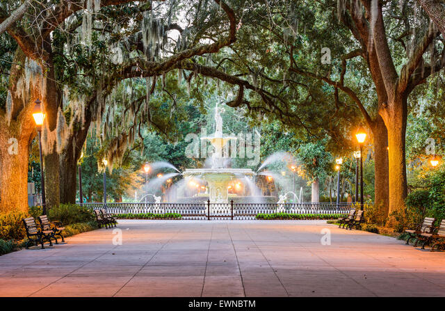 Savannah, Georgia, USA am Forsyth Park Brunnen. Stockbild