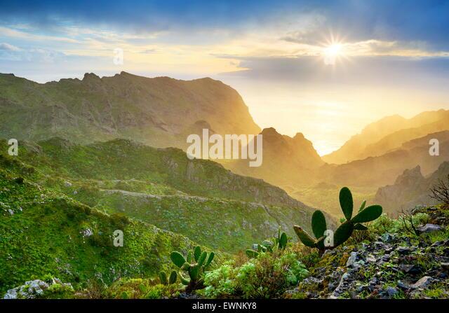 Sonnenuntergang auf Teneriffa, Kanarische Inseln, Spanien Stockbild
