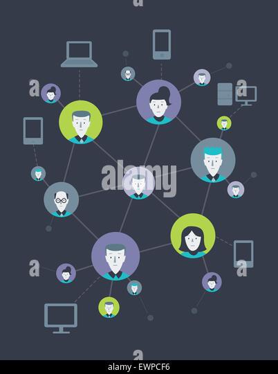 Anschauliche Darstellung von Menschen aus sozialen Netzwerken miteinander verbunden Stockbild