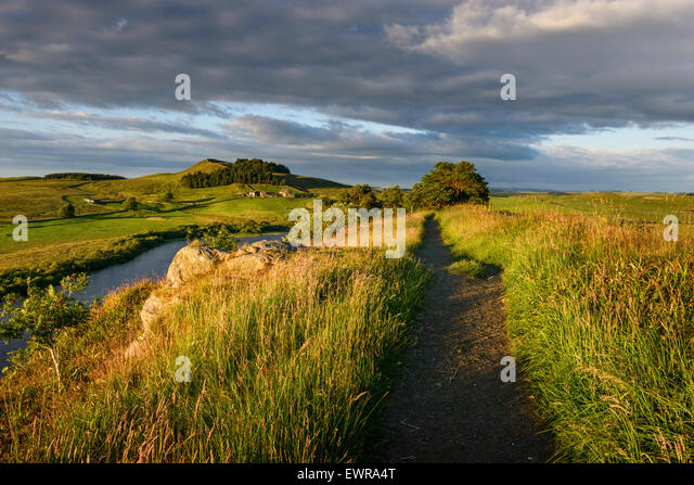 Der Hadrianswall Long Distance Trail Stockbild