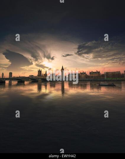 Sonnenuntergang von Westminster, London, UK Stockbild
